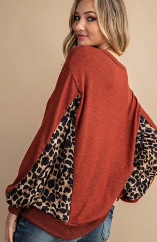 Camillions Gianna Animal Print Contrast Long Sleeve Top