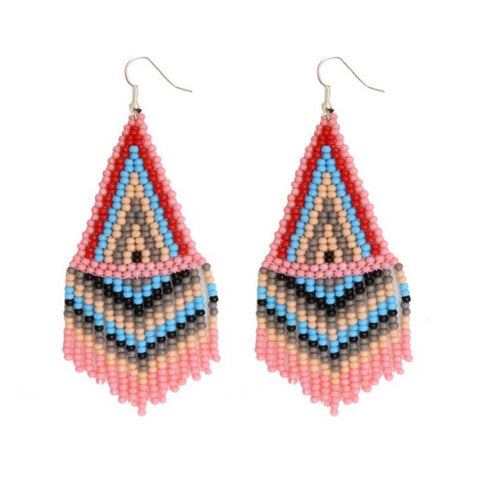 Camillions Embera Beaded Earrings - Bubble Gum