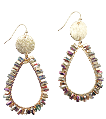 Camillions Iridescent Teardrop Beaded Earrings