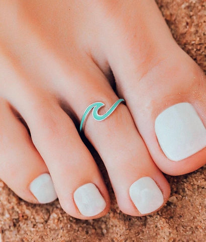 Pura Vida Enameled Wave Toe Ring - Turq/Silver