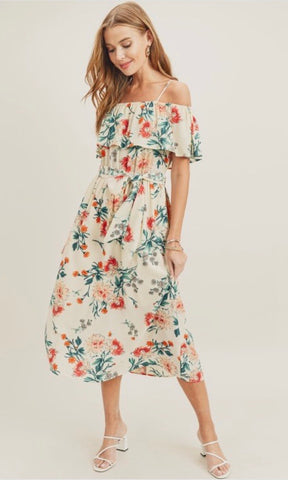 Camillions Yesenia Floral Ruffled Midi Dress