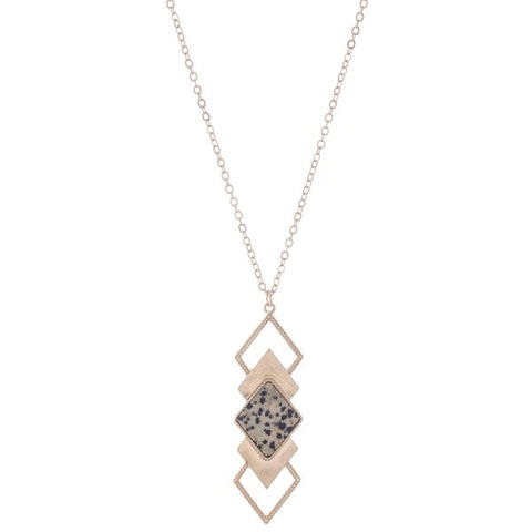 Camillions Natural Stone Tiered Diamond Shape Pendant Necklace