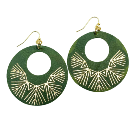 Camillions Aztec Leather Hoop Earrings - Olive