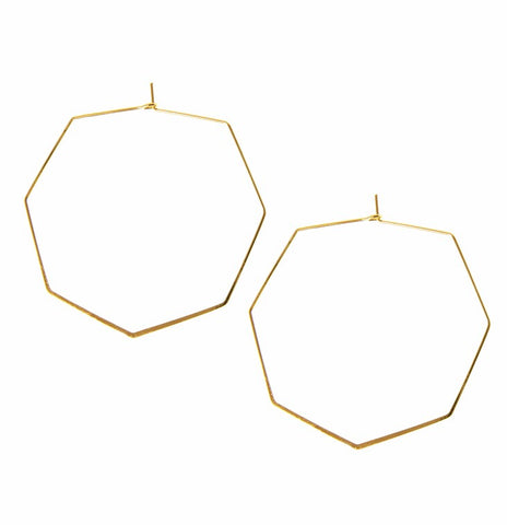 Joy Susan Thin Hexagon Hoop Gold Earrings