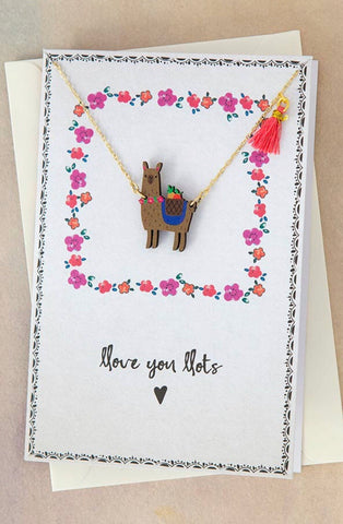 Natural Life Llama Die-Cut Wood Necklace on Card