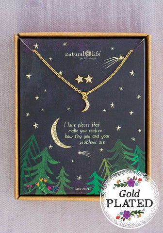 Natural Life Moon & Star Necklace Earrings Gift Set