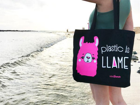 Kiss and Punch Plastic is Llame Tote Bag