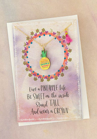 Natural Life Pineapple Die-Cut Wood Necklace on Card