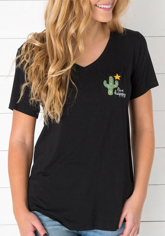 Natural Life Live Happy Cactus T-Shirt