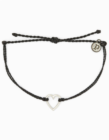 Pura Vida Open Heart Bracelet - Black
