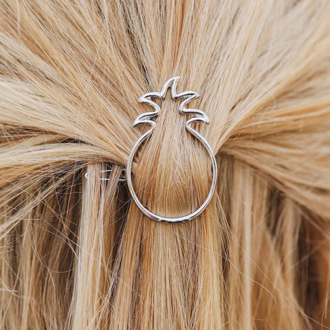 Pura Vida Pineapple Hair Barrette - Silver