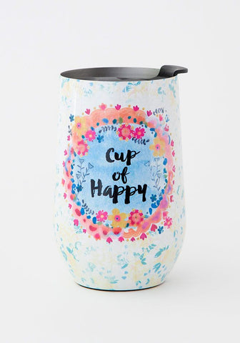 Natural Life Wine Tumbler 14oz - Cup of Happy