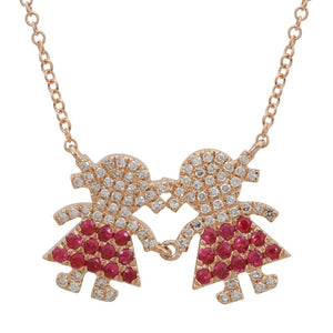 Ruby & Diamond Two Girl Family Necklace
