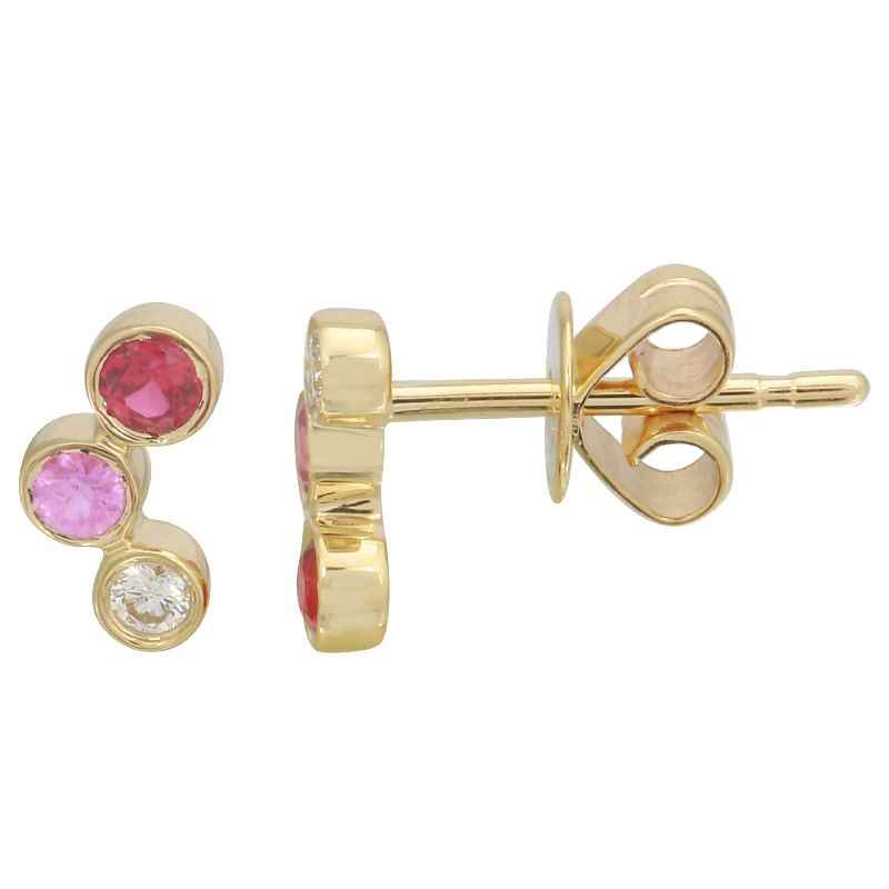 Yellow Gold Small Triple Graduated Gemstone Curved Bezel Stud Earring