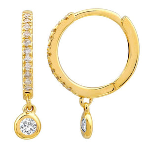 Dangling Drop Diamond Huggie Earring