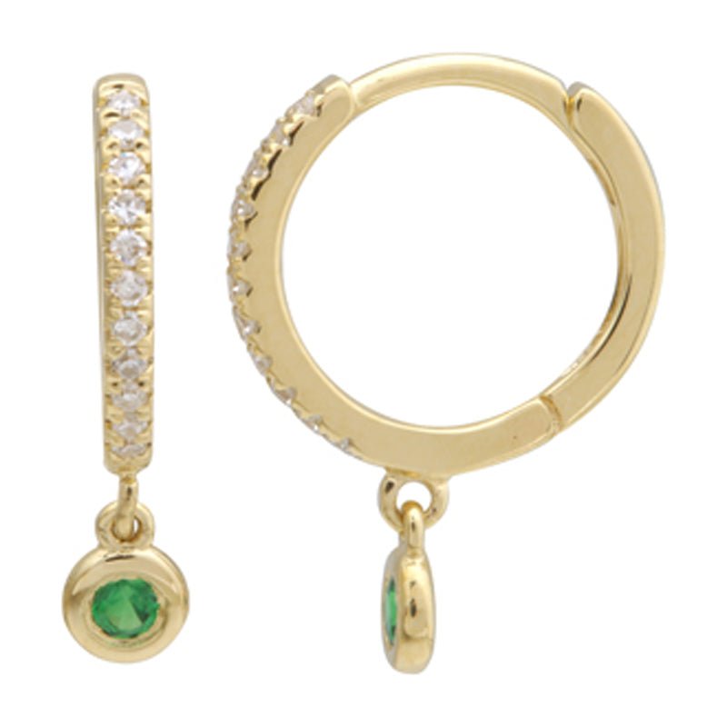 Dangling Drop Diamond & Gemstone Huggie Earring