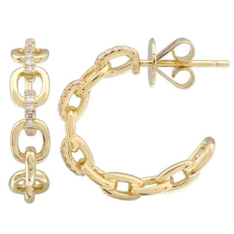 Chain Link Hoop Diamond Earring - Euro Time & Jewels