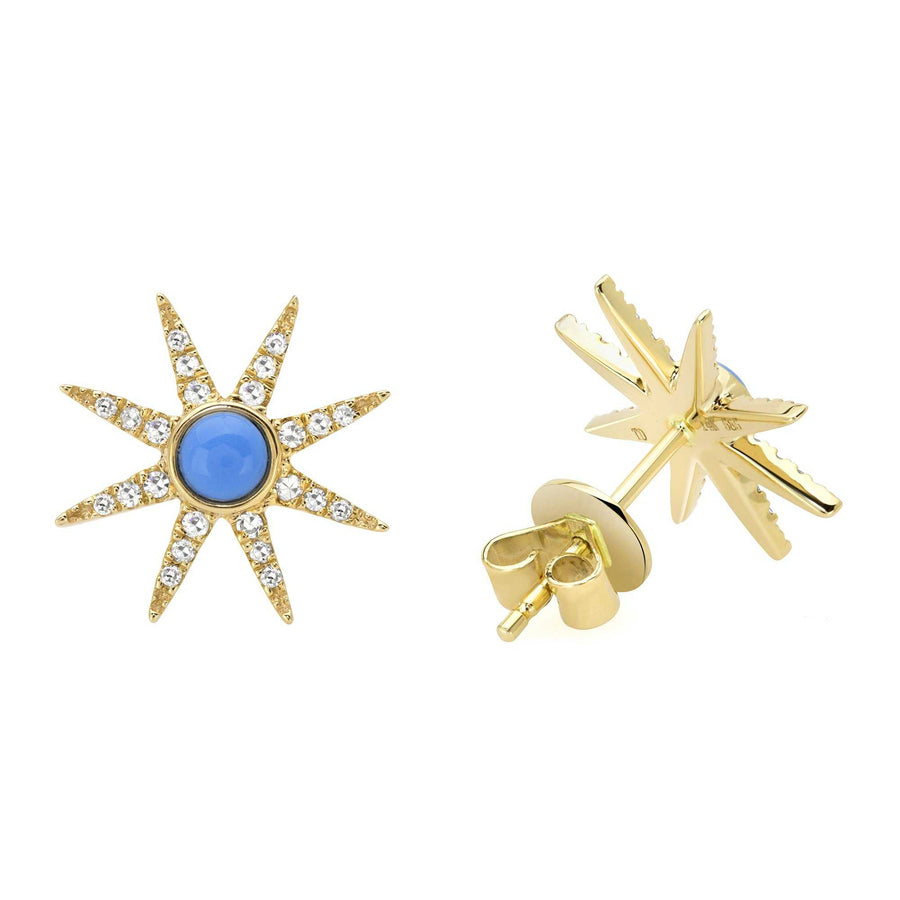 DIAMOND TURQUOISE SUN DIAL STUD - Euro Time & Jewels