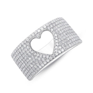 DIAMOND HOLLOW HEART RING - Euro Time & Jewels