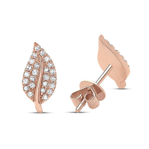 DIAMOND LEAF STUD EARRING - Euro Time & Jewels