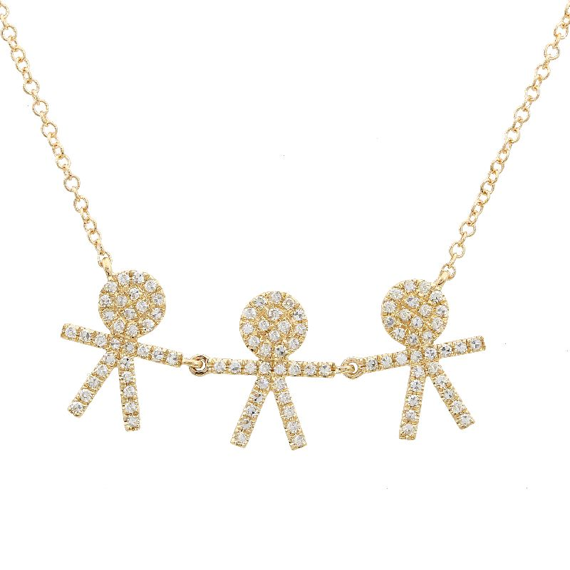Three Boy Diamond Family Necklace