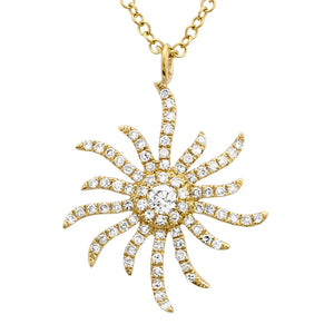 Wavy Sun Diamond Pendent Necklace - Euro Time & Jewels