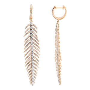 Diamond Feather Drop Earring - Euro Time & Jewels