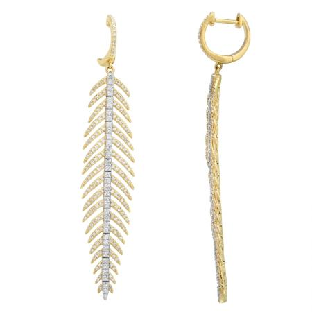 14K YELLOW GOLD DIAMOND FEATHER DANGLE EARRINGS