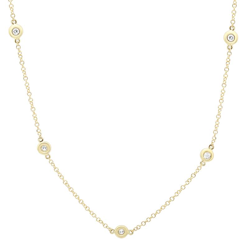 Diamond Station Bezel Set Necklace