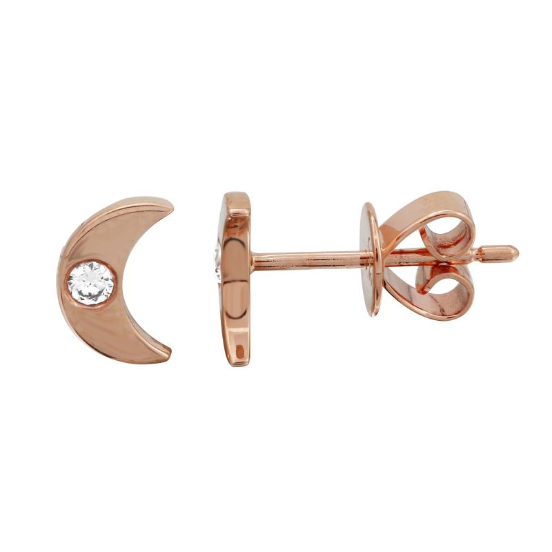 Diamond Mini Moon Stud Earrings - Euro Time & Jewels