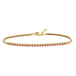 Gemstone Bezel Setting Tennis Bracelet - Euro Time & Jewels
