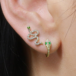 Slithering Snake Diamond Stud Earring - Euro Time & Jewels