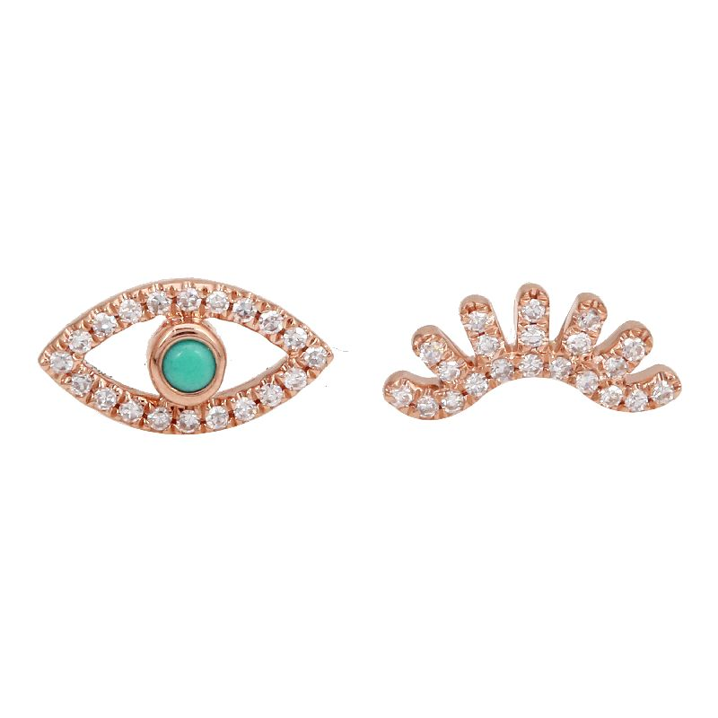 Turquoise Evil Eye & Wink Diamond Stud Earrings - Euro Time & Jewels