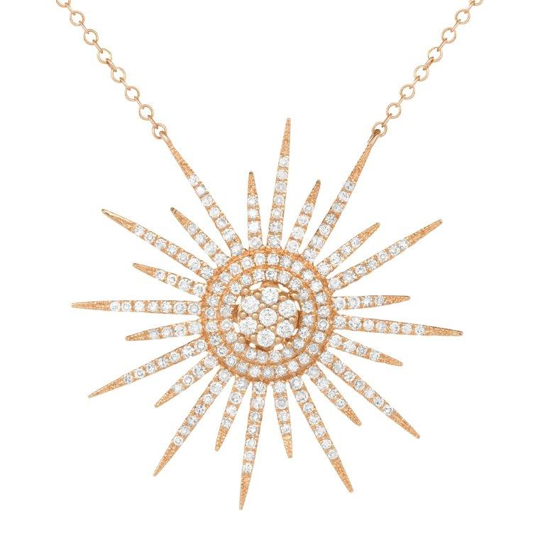 14K YELLOW GOLD DIAMOND SUN NECKLACE - Euro Time & Jewels
