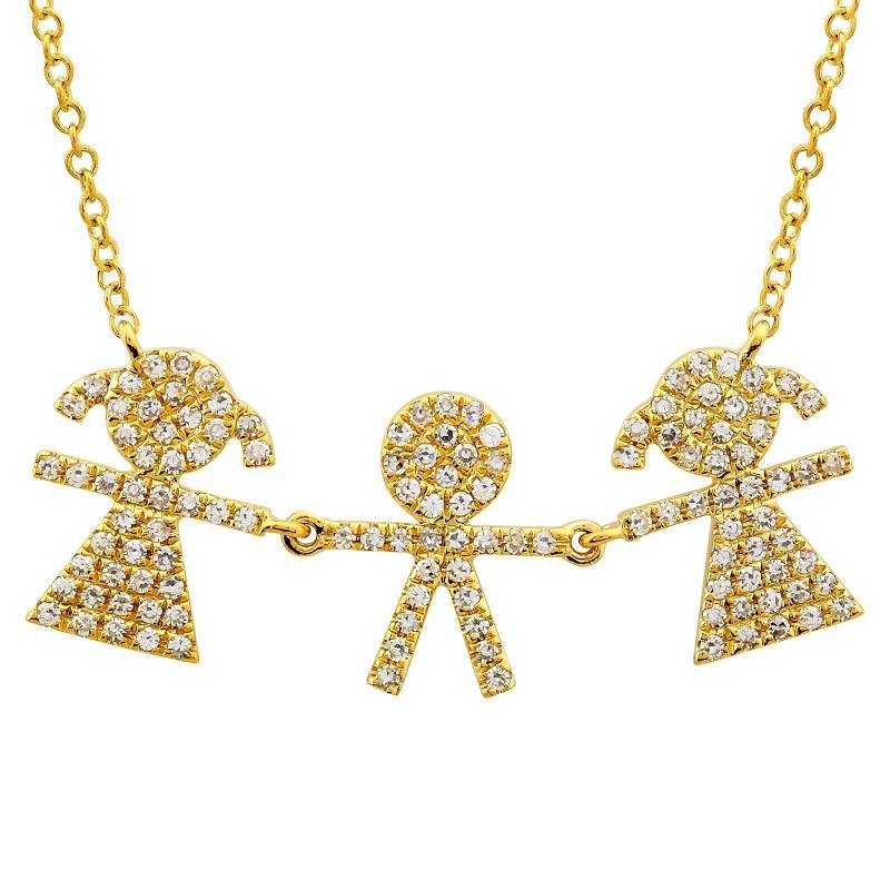 Diamond Boy & Two Girl Family Necklace