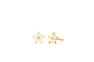 Diamond & White Enamel Star Studs