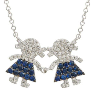Diamond & Blue Sapphire Two Girl Family Necklace