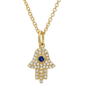 Hamsa Pendent Necklace with Sapphire - Euro Time & Jewels