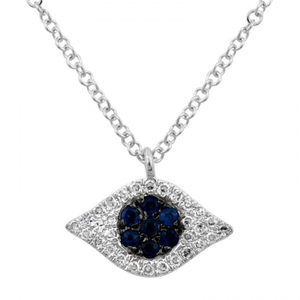 Eye Pendant Necklace with Sapphire - Euro Time & Jewels