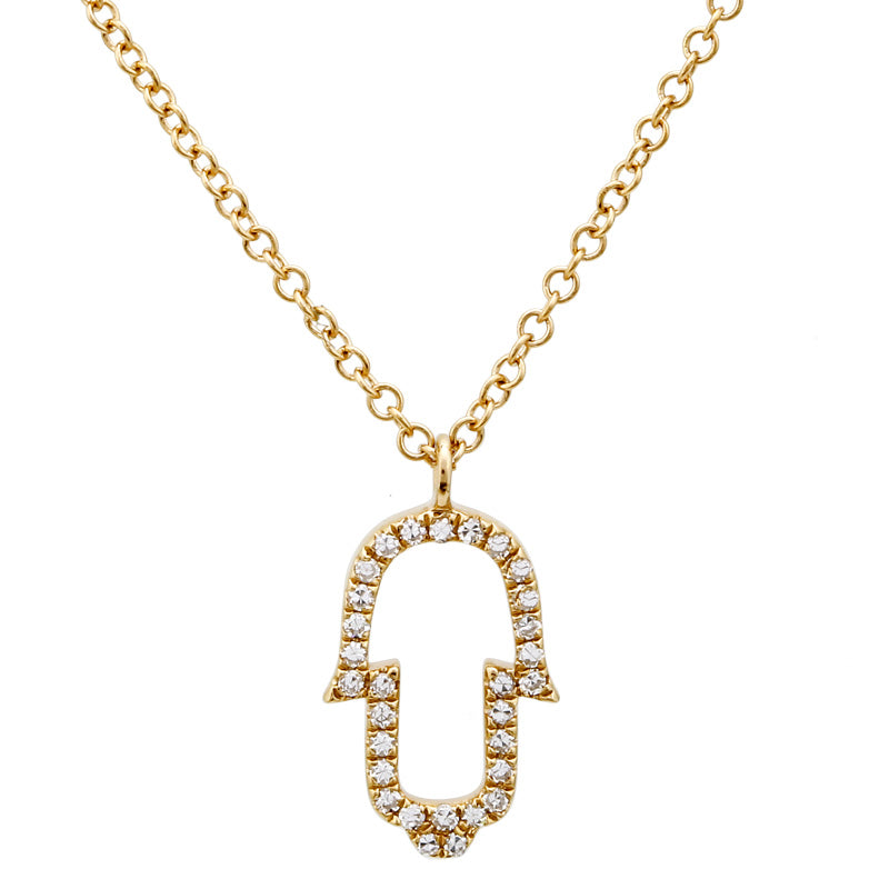 Hollow Hamsa Pendant Necklace - Euro Time & Jewels