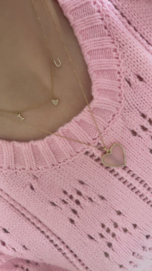 Pink Opal Heart Necklace