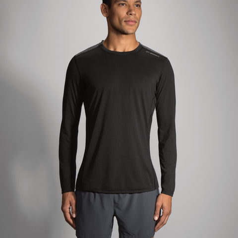 2017 Brook's Men's Distance Long Sleeve- Black/Heather Black