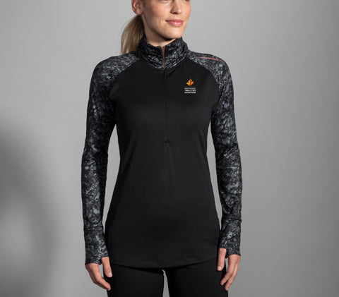 2019 Brooks TCM Dash 1/2 Zip - Black/Black Marble (Women's Sizing)