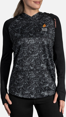 2019 Brooks TCM Dash Hoodie - Black Marble/Black (Women's Sizing)