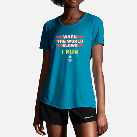 2020 Brooks TCM 10 Mile Distance Short Sleeve Tee - Sea (Women's Sizing)