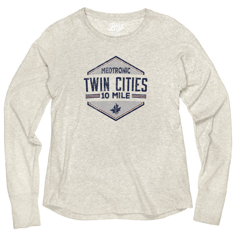 10 Mile Long Sleeve Tri Blend Tee - Oatmeal (Women's Sizing)