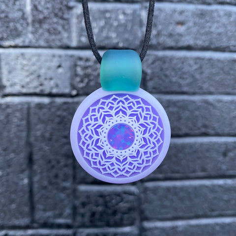 GlassMaze Carved Lilac Pendant