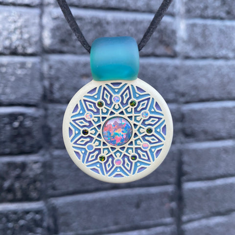 GlassMaze Carved Multi-Opal Pendant