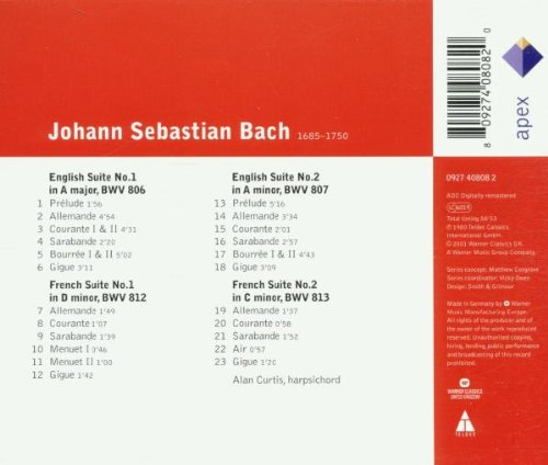 BACH, JOHANN SEBASTIAN: ENGLISH & FRENCH SUITES NOS.1 & 2 - ALAN CURTIS