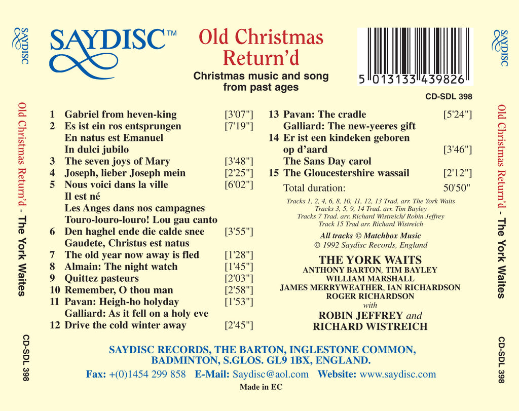 Music And Song From Past Ages (Old Christmas Return\'D) - The York ...